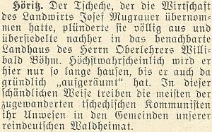 """Podle zprávy v únorovém čísle krajanského měsíčníku zroku 1953 usídlil se v hořickém venkovském sídle Böhmově """"český komunista"""", který předtím vybydlil sousední hospodářství a chystá se nyní učinit totéž také vedle"""