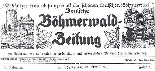 V listě Deutsche Böhmerwald-Zeitung, který vycházel 1878-1945 v Českém Krumlově, publikoval už v roce 1896 svou prvotinu (toto je záhlaví jednoho z čísel 50. ročníku)