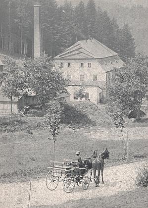 Údolí Schwarzbachu, provoz Dampf, vpopředí bryčka s dcerou majitele skláren vSophienthalu Zieglera