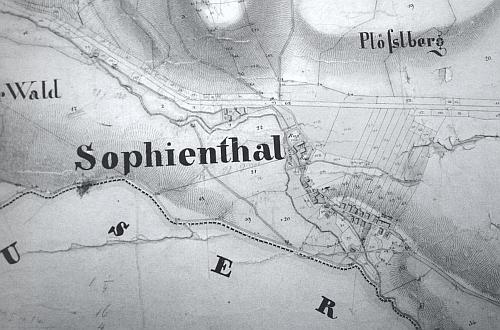 Ves Černá Řeka s údolím Černého potoka na mapě z první poloviny 19.století