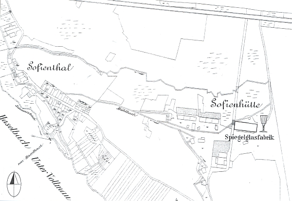 Žofiina Huť u vsi Černá Řeka s údolím Černého potoka na mapě z období kolem roku 1904