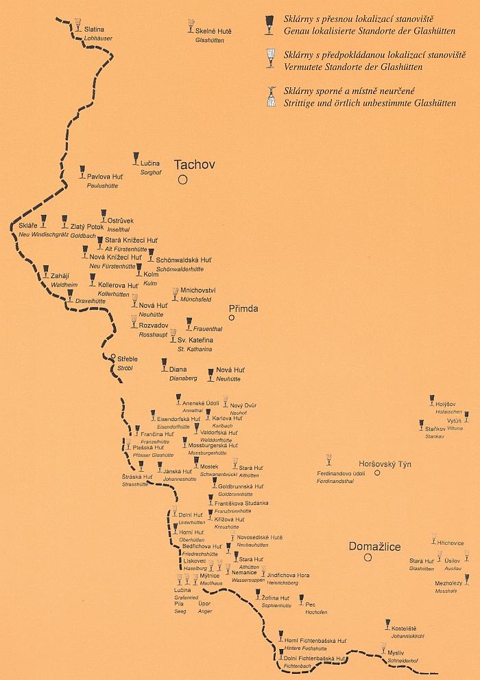 Sklárny tachovské a domažlické části Českého lesa na schematické mapce