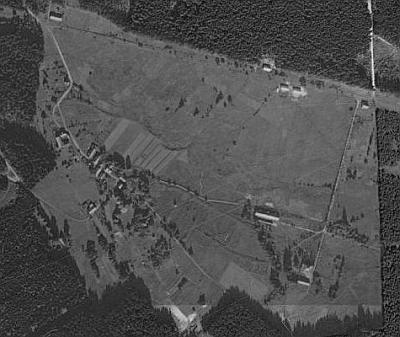 Černá Řeka na leteckých snímcích z let 1962 a 2008