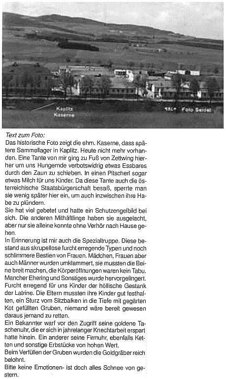 Starou Seidelovu pohlednici, zachycující kasárna v Kaplici, provází jeho text o sběrném táboře, kterým se stala po skončení druhé světoví války