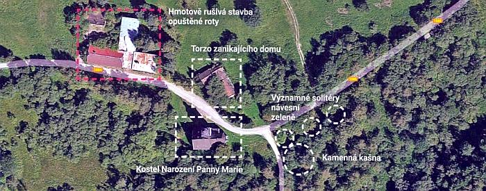 Letecký snímek stavu po jejich zániku