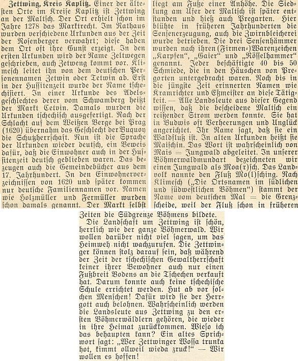 """Jeden anonymní text o Cetvinách končí úslovím: """"Kdo pije cetvinskou vodu, vrátí se vždycky zase nazpátek!"""" pro útěchu a naději vyhnancům na stránách krajanského měsíčníku z roku 1954"""