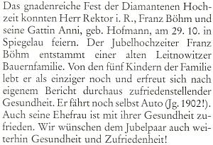 Blahopřání krajanského měsíčníku k jeho diamantové svatbě s Anni, dívčím jménem von Hoffmann z rodu králováckých svobodných sedláků serbem ašlechtickým titulem od knížete Kolowrata, se kterou se brali v roce 1930