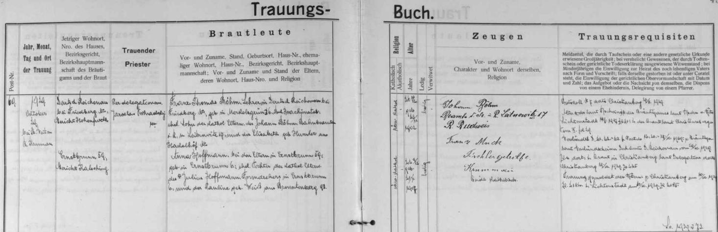Českokrumlovská oddací matrika uchává tento záznam o jeho svatbě v českokrumlovském kostele sv. Víta 29. října roku 1929 - ženich Franz Thomas Böhm byl v té době učitelem ve dnes zcela zaniklém Rychnůvku, nevěsta Anna, narozená 21. ledna 1907, byla dcerou Julia Hoffmanna, obraceče forem v arnoštovské sklárně čp. 6, a Pauliny, roz. Weißové ze Spálence (Brenntenberg) čp. 93
