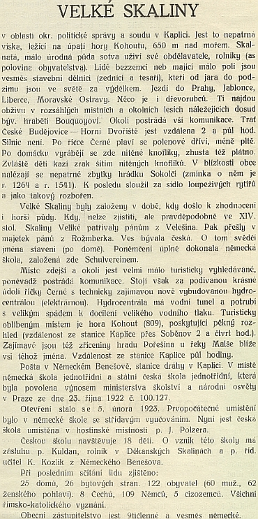 """Pasáž o Velkých Skalinách z knihy Jihočeské menšiny (1925), jejíž obálka zachycuje školu, která té """"Jubilejní"""" české z roku 1928 vobci, kde bylo 8(!) českých obyvatel, mimochodem jako by z oka vypadla"""