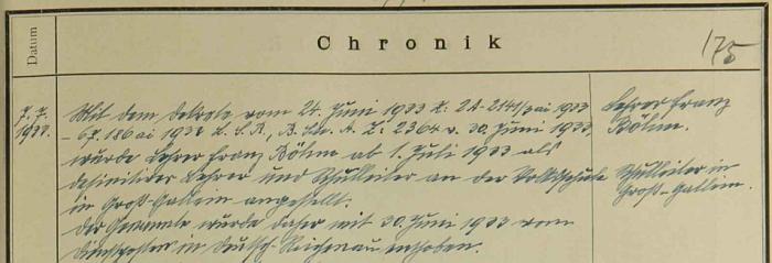 Záznam školní kroniky dnes zaniklého Rychnůvku o jeho odchodu odtud do Velkých Skalin v roce 1933