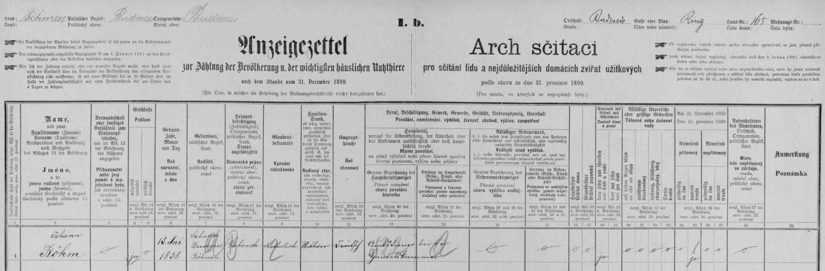 Podle tohoto archu pro dům čp. 16 na českobudějovickém náměstí ze sčítání lidu v roce 1890žil zde jeho otec, vdovec Johann Böhm, po jehož druhé svatbě s Marií, roz. Vondruškovou, se jim tu narodil on jako jejich syn Johann Vincenc