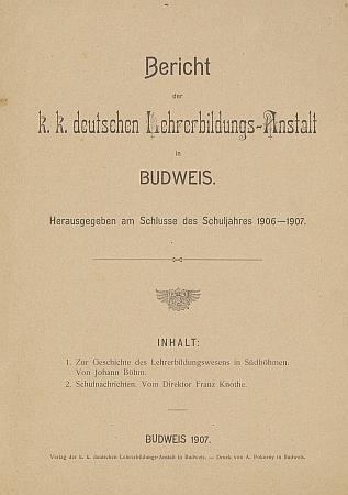 Titulní list brožury (1907), jejímž byl spoluautorem