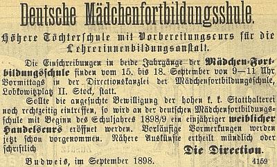 Inzerát školy v budějovickém německém tisku