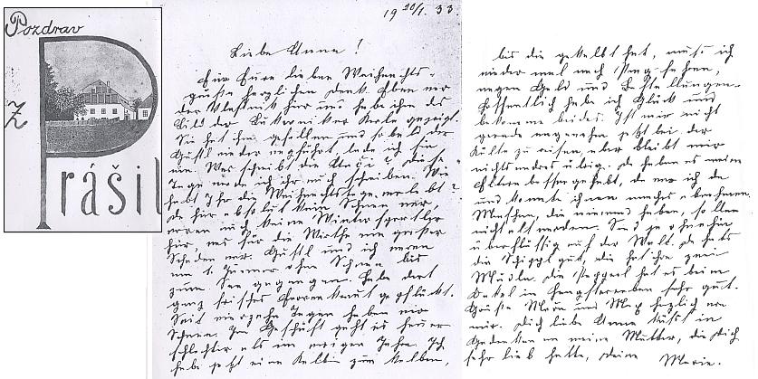 Dopis Anně Mackové, družce Josefa Váchala z cest po Šumavě,od Marie Böhmové, rozené Eggerthové