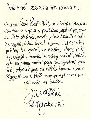 Dva titulní listy pamětní knihy její papírny v Prášilech i úvodní kresbu vytvořil Josef Váchal, který na další straně zaznamenal i setkání s Marií a její matkou