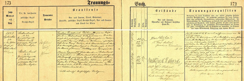 """Záznam prášilské oddací matriky o její svatbě s majorem v.v. Gustavem Friedrichem Böhmem, rodákem z haličské Drohobycze (dnes ukrajinské město Drogobič ve lvovské oblasti), syna c.k. nadporučíka Franze Böhma v Drohobyczi a jeho ženy Marie, roz. Kollarzové z Rzeszówa - nevěsta Marie Eggerthová je tu už označována jako """"Fabrikantin"""""""