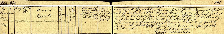 Záznam křestní matriky farní obce Prášily o narození a křtu Marie Eggerthové, dcery zdejšího výrobce papíru Franze Eggertha (syna Johanna Eggertha, majitele téže papírenské živnosti v Prášilech čp. 33, a Anny, roz. Ascherlové zNového Burnstu), a jeho manželky Marie, dcery Wenzela Haranta, někdejšího usedlíka v Hrádcích, později majitele statku Tajanov (dnes součást obce Kolinec), a Theresie, roz Gruberové ze dnes zaniklé osady Vchynice-Tetov - kmotry novorozeného děcka byli Ignaz Mikschik, výrobce papíru z Kundratic, se svou ženou Mathildou - pozdější přípis nás zpravuje i o svatbě Marie Eggerthové dne 24. září roku 1922 s Gustavem Friedrichem Böhmem