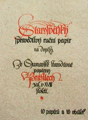 Záhlaví desek na výrobky papírny v Prášilech