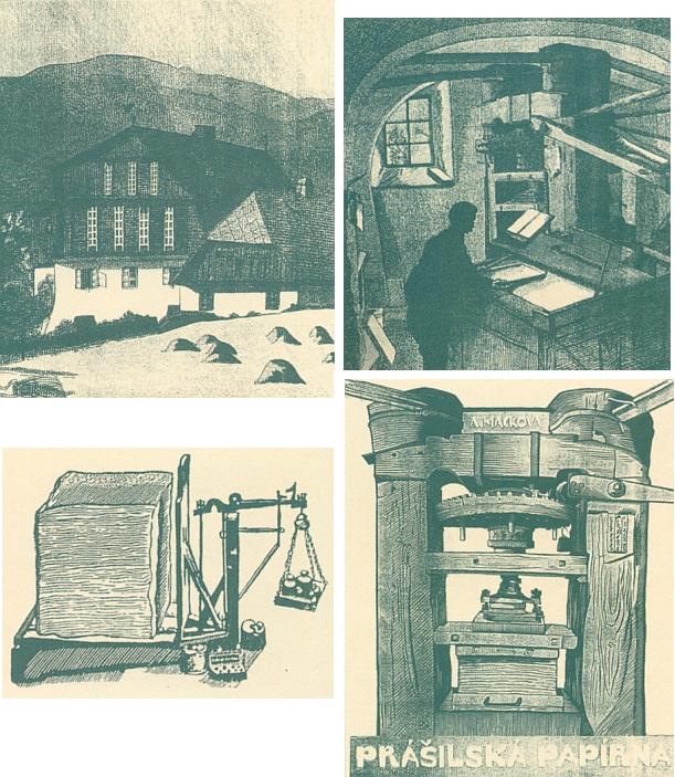 Několik dřevorytů Anny Mackové s motivy prášilské papírny