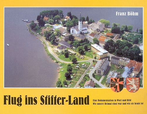 Obálka (2001, Eichendorf-Verlag) jeho knihy s leteckým pohledem na Frymburk