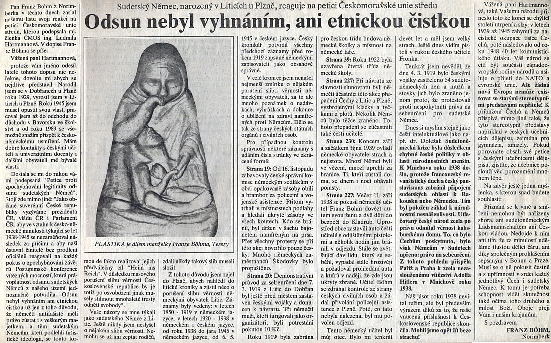 Jeho text na stránkách listu Chebský deník z léta roku 1996