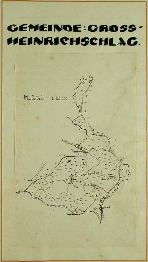 Plánek obce Velký Jindřichov v úvodu této pamětní knihy