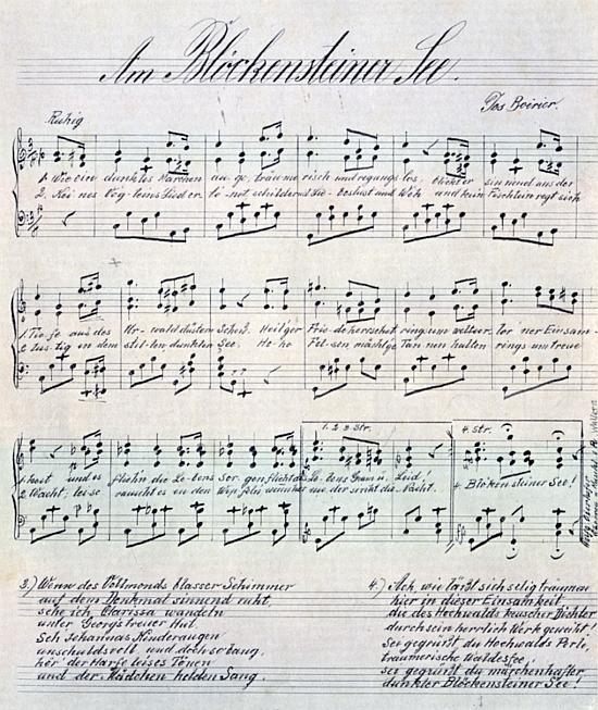 Podepsaný notový záznam jeho písně