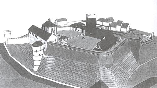 Rekonstrukce románské falce v Chebu (autor Luděk Vystyd)