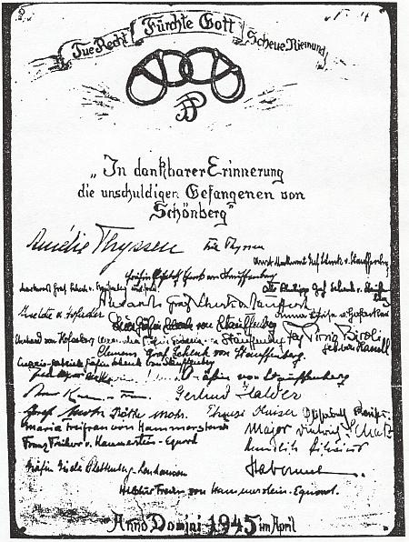 Děkovný dopis vězňů z dubna 1945 za pomoc, kterou jim poskytl s výrazným zastoupením rodiny Stauffenbergovy, držené tehdy ve vazbě vSchönbergu