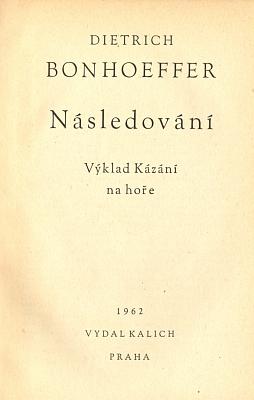 Obálka a titulní list (1962) českého překladu Následování z nakladatelství Kalich