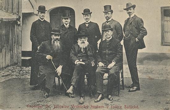 Tato pohlednice Vrchlického se šumavskými přáteli při návštěvě Sušice byla odeslána v září 1912 několik dní po básníkově smrti