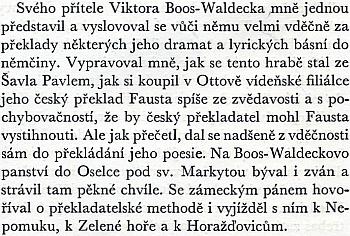 O jeho přátelském vztahu s Vrchlickým podal toto svědectví Albert Pražák