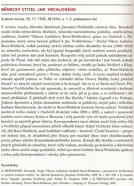 Takto o něm psal Arne Novák do Lidových novin v roce 1930