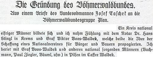 Pasáž z dopisu Josefa Tascheka o založení Böhmerwaldbundu zmiňuje Boose-Waldeka jako jednoho z hlavních iniciátorů projektu