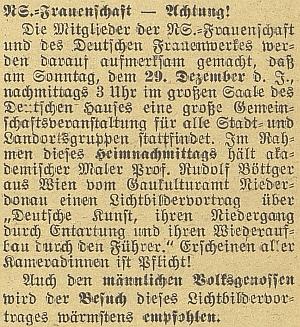 Zpráva o jeho přednášce pro nacistický Svaz žen včeskobudějovickém Německém domě
