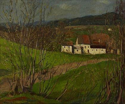 """Jeho olej """"Krajina v Bavorském lese"""" z roku 1949"""