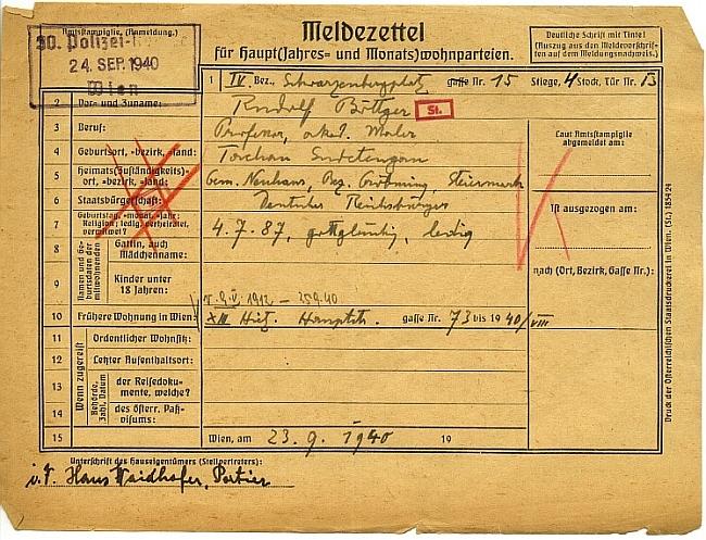 """Jeho vídeňská pobytová přednáška (bydlel na Schwarzenbewrském náměstí) z roku 1940 - je na ní označen jako """"gottgläubig"""" a svobodný"""