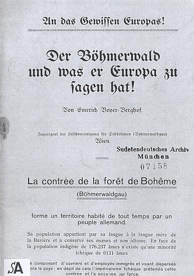 """Obálka (1919) jeho brožury """"ke svědomí Evropy"""" v kopii zaslané ze Sudetoněmeckého archivu v Mnichově"""