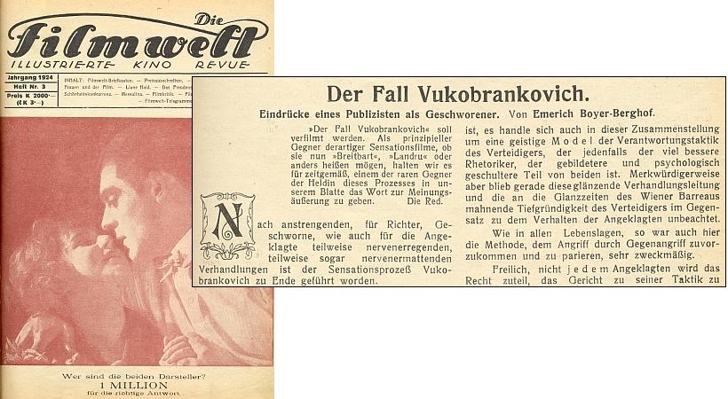 Záhlaví a úvod jeho článku ve vídeňském filmovém časopise z roku 1924 o senzačním procesu s herečkou  Milicou Vukobrankovičovou, jinak učitelkou, která otrávila celou svou rodinu (viz o tom i obrazová příloha s titulem Travička u jména Antonie Pifflová) - za povšimnutí jistě stojí i obnosy, které představovala  cena jednoho čísla časopisu a odměna v jeho čtenářské soutěži za časů rakouské poválečné inflace
