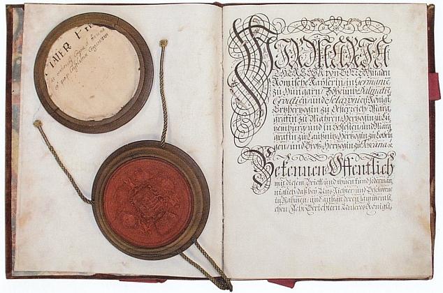 """""""Dopis o svobodě"""", potvrzující privilegia králováckých svobodných sedláků z roku 1747"""