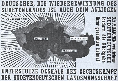"""V roce, kdy zemřel (1950), apelovalo Sudetoněmecké krajanské sdružení tímto bojovným plakátem na německou veřejnost, aby podpořila právní nároky na """"uloupený domov"""""""