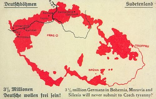 """Na této mapce z období propagace """"Deutschböhmen"""" (1918-1920) se žádá osvobození 3,5 milionu Němců od české tyranie německy i anglicky"""