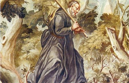 Klenotem Bavorského lesa je nazýván klášterní kostel sv. Jana Křtitele v Rinchnachu - na detailu jedné znástropních maleb vlevo je zachycen i šumavský mnich Vintíř na cestě lesem
