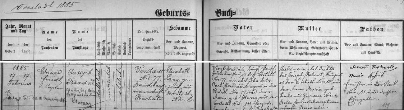 Narodil se jako Joseph Bradáč ve Vimperku - předměstí čp. 77 v rodině řezníka Wenzla Bradáče (děd z otcovy strany Carl Bradáč a jeho žena Maria, roz. Herzigová, bydlili rovněž na předměstí Vimperka) a Julie, dcery Josefa Kohouta, bytem Vimperk - předměstí čp. 10 a jeho manželky Anny Marie, roz. Fuchsové z Pravětína - z pozdějšího přípisu se dovídáme o svatbě Bradáčově roku 1923 v Kreuzbergu s Marií Strunzovou