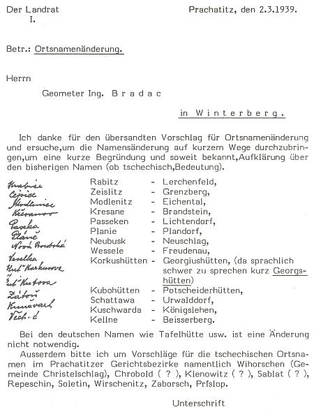 """Opravdu bizarní výměna dopisů mezi Bradatschem a prachatickým """"landrátem"""" z března 1939 o navrhovaných změnách místních jmen na Vimpersku a Prachaticku jen proto, že zněly příliš česky - ke změně nakonec pro technické obtíže nedošlo a svá příjmení si ponechali i Bradatsch a také Watzlik v dopise zmiňovaný"""