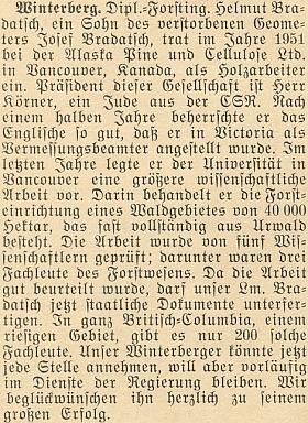 Zpráva o úspěchu vědecké práce jeho syna na stánkách krajanského měsíčníku v roce 1955