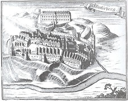 Stylizovaná představa Vimperka se zámkem z doby kolem roku 1700, mědirytina z díla P. Mauritia (Johanna Georga) Vogta (1669-1730) Das jetzt-lebende Königreich Böhmen (1712)