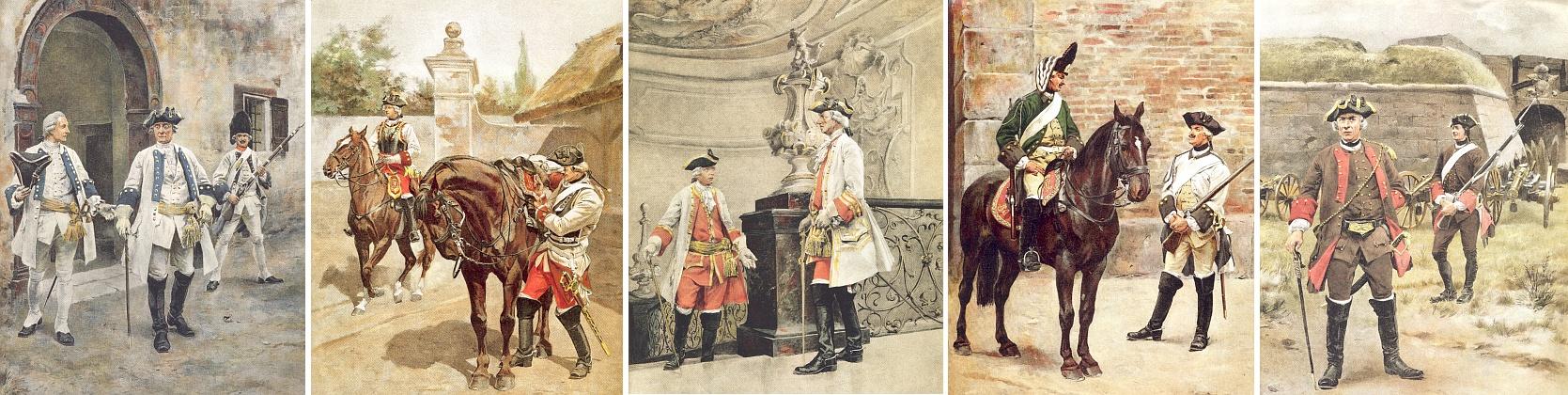 Rudolf von Ottenfeld je autorem i těchto obrazů zachycujících uniformy rakouské armády za sedmileté války