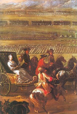"""Císařovna jako """"mater castrorum"""", tj. matka polního ležení, na obraze neznámého mistra z opět dotčeného roku 1745"""