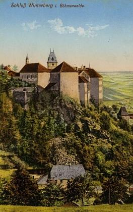 Zámek ve Vimperku na pohlednici Josefa Seidela